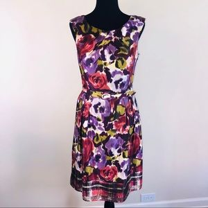 Feminine Floral Adrianna Papell Silk Belted Dress